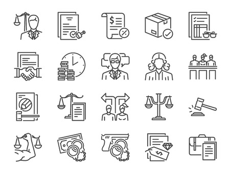 Illustration pour Legal services icon set. Included icons as law, lawyer, judge, court, advocacy and more. - image libre de droit