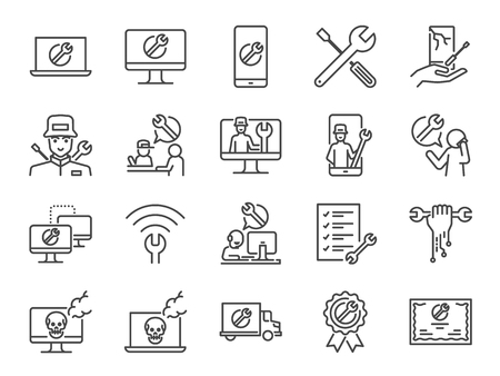 Illustration pour IT support icon set. Included the icons as tech support, technician, broken computer, mobile, technical help desk, onsite services and more. - image libre de droit