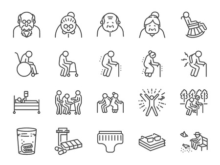 Illustration for Old man line icon set. Included icons as older people, aging, healthy, senior, life and more. - Royalty Free Image