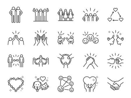 Ilustración de Friendship line icon set. Included icons as friend, relationship,buddy, greeting, love, care and more. - Imagen libre de derechos