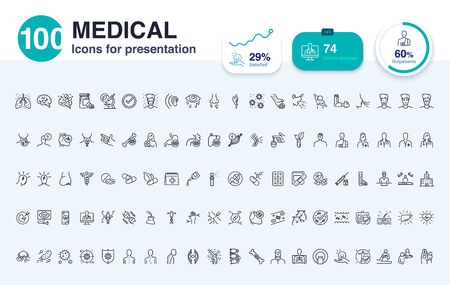 Ilustración de 100 Medical line icon for presentation. Enhance presentations slide with good visuals. - Imagen libre de derechos