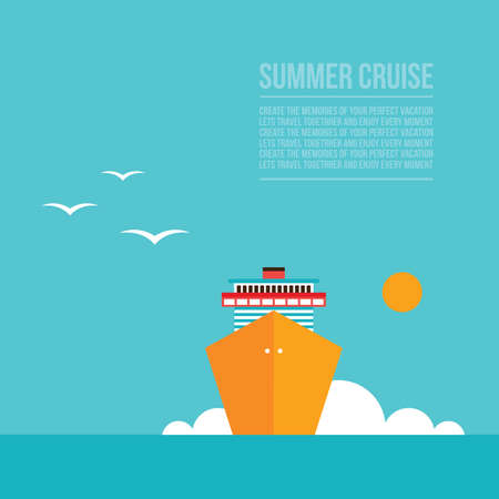 Cruise liner ship Colorful background Travel Tourism Vacation concept illustration