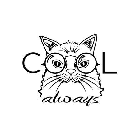 Ilustración de Vector Fashion Portrait of Hipster Cat in Big Glasses. Cool cat - Imagen libre de derechos