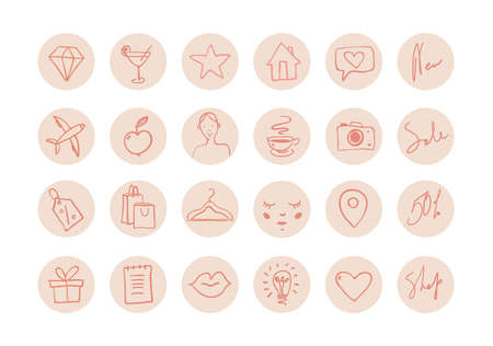 Illustration pour Set of hand drawn round icons for social networks. Pink icons for women s fashion stores, cosmetics, face and body care, healthy lifestyle. Doodle illustration isolated on white. - image libre de droit