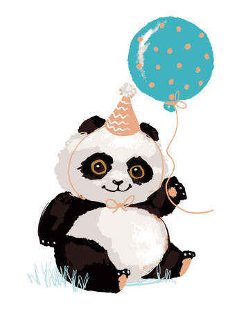Illustration pour Cute panda in a festive cap with a balloon. Panda s birthday. Cute animal, vector character isolated on white background. - image libre de droit