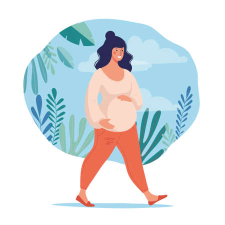 Illustration for A pregnant woman leads a healthy lifestyle. Sports and walks during pregnancy. Conceptual poster about motherhood. Flat female character for design. Vector illustration - Royalty Free Image