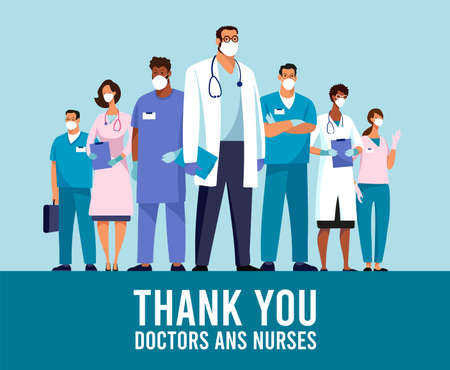 Illustration pour CoVID-19 Spread of the virus. New Coronavirus 2019-nCoV Poster Thank you doctors and nurses. Thanks to the medical team during the coronavirus epidemic. Vector illustration - image libre de droit