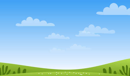 Illustration pour Sunny spring or summer landscape, meadows, sky with clouds, place for text. Green farm banner, concept of caring for nature and ecology. Flat cartoon vector illustration with copyspace - image libre de droit