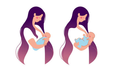 Illustration for A cute young mother breastfeeds a newborn baby . The woman presses the baby to the chest, the baby eats breast milk. Flat illustration isolated on white background - Royalty Free Image