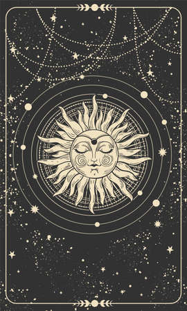 Illustration pour Mystical drawing of the sun with a face, tarot cards, boho illustration, magic card. Golden sun with closed eyes on a black background with stars. Vector hand drawing - image libre de droit