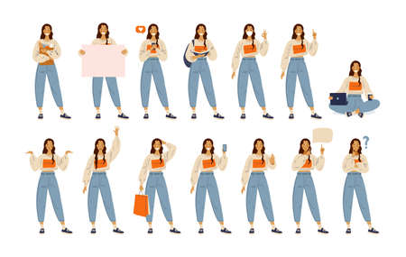 Illustration pour A student girl in modern casual clothes shows different gestures and emotions. Set Back to school. Female character in flat cartoon style. Vector illustration isolated on white background. - image libre de droit