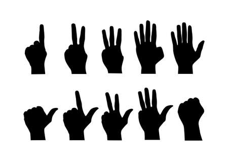 Vector : Counting hands from zero to nine on white backgroundのイラスト素材