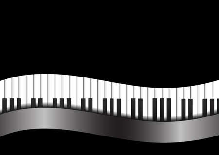 Vector : Piano with curve on black background
