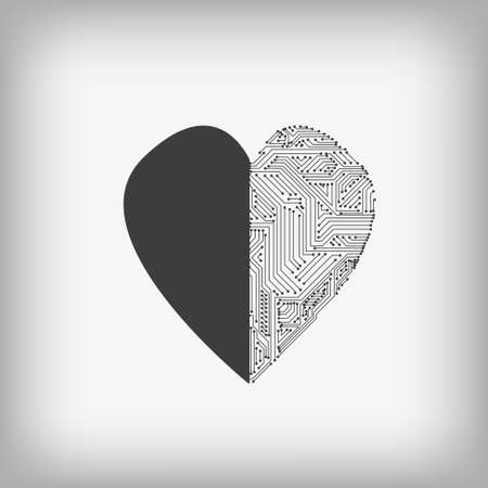 Vector : Heart and electronic circuit on gray background