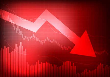 Illustration pour Vector : Decreasing graph and arrow on red background - image libre de droit