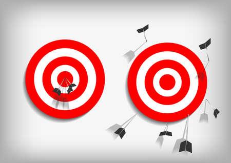 Illustration pour Vector : Archery targets and missed arrows on gray background - image libre de droit