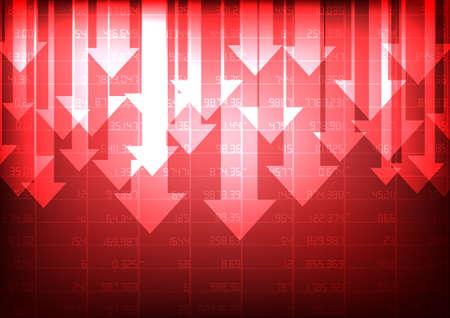 Ilustración de Vector : Red stock market with decreasing arrow on red background - Imagen libre de derechos