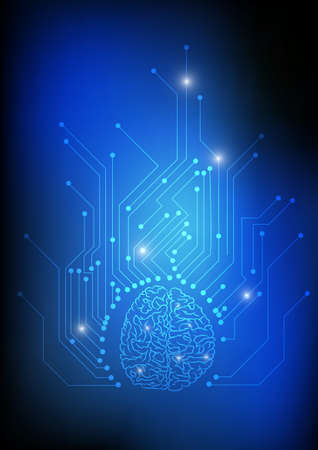 Illustration for Vector : Brain and electronic circuit on blue background - Royalty Free Image