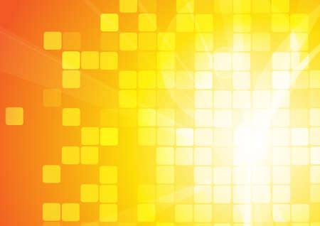 Illustration for Vector : Abstract curve and squares on orange background - Royalty Free Image