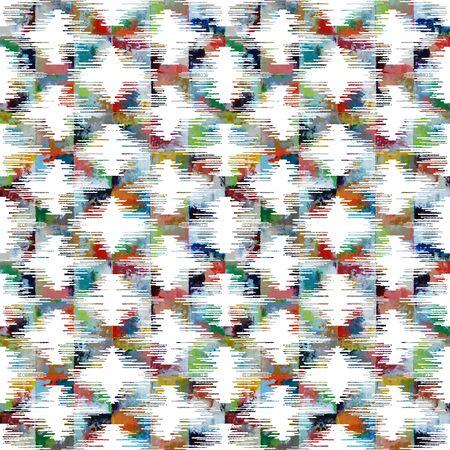 Photo pour Diamond ikat pattern with watercolor texture and colors - image libre de droit
