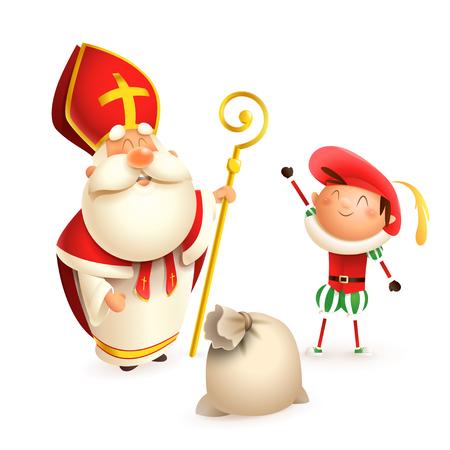 Illustration pour Saint Nicholas and helper Zwarte Piet with gift bag isolated on white background - image libre de droit