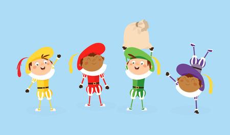 Ilustración de Four Zwarte Piet Sinterklaas helpers - vector illustration isolated on white - Imagen libre de derechos