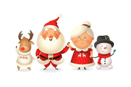 Santa with family celebrate holidays - Reinder, Snowman and Mrs Claus - vector illustration isolated on transparent background
