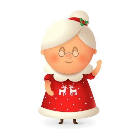 Mrs Claus. vector illustration isolated on transparent background