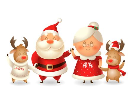 Santa Claus his wife Mrs Claus and two Reindeer celebrate winter holidays - vector illustration isolated on transparent background