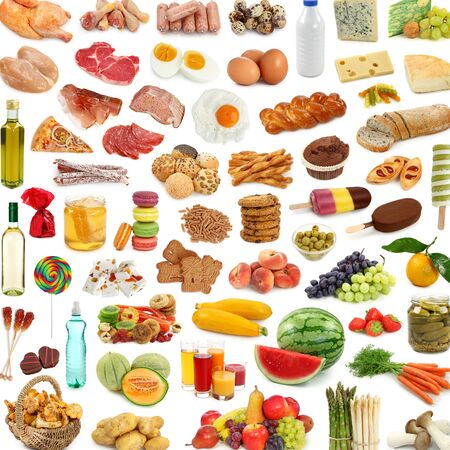 Foto de lots of food food fruit meat vegetables - Imagen libre de derechos
