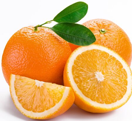 Photo for Oranges citrus half slice on a white background . - Royalty Free Image