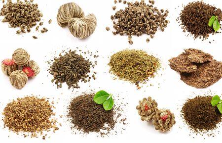 Photo pour Tea green black set kinds of leaves on a white background . - image libre de droit