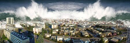 Photo pour Waves of the ocean ocean flood tsunami city homes . - image libre de droit