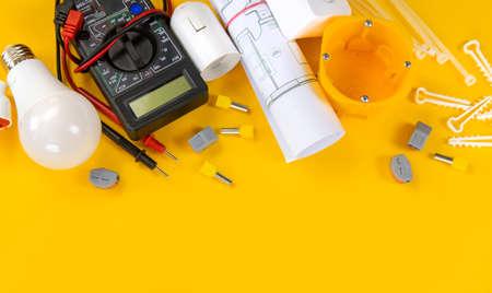 Photo pour electrical tools for repairing electricians in the house. Selective focus. - image libre de droit