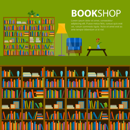 Illustration for Library, bookstore - Seamless pattern with books on bookshelves. Books in shelves for bookstore. Seamless pattern from books for bookshop. Sale in bookstore. - Royalty Free Image