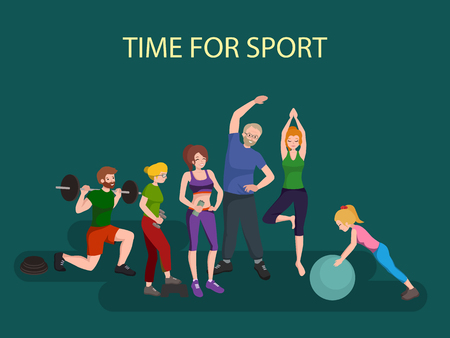 Sports and Fitness People, Healthy family vector illustration. Healthy man, woman and children doing exercises, yoga.Girl with ball, man barbell, old persons physical activity. Sport people gymnastics