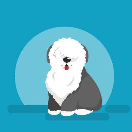 Illustration pour Illustration of sitting funny dog, Old English Sheepdog vector background - image libre de droit