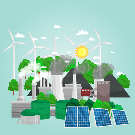 concept of alternative energy green power, environment save, renewable turbine energy, and more.