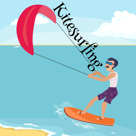 kitesurfing water extreme sports, isolated design element for summer vacation activity concept, cartoon wave surfing, sea beach vector illustration, active lifestyle adventure.