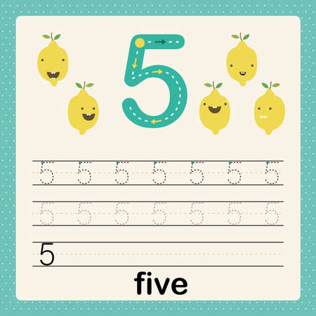 Illustration pour Number 5, card for kids learning to count and to write, worksheet for kids to practice writing skill, Vector illustration, printable worksheet for preschool kids, basic writing skill - image libre de droit