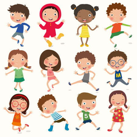 Illustration pour Variety of emotions children, kids face with different expressions, pose, gesture, vector, illustration - image libre de droit