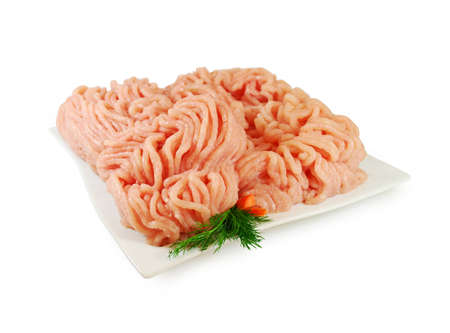Photo pour Raw meat. Fresh Minced Chicken on a Plate Isolated. - image libre de droit