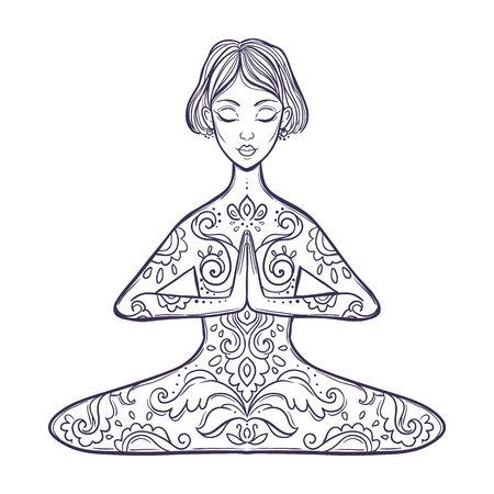 Illustration pour Girl in a yoga pose. Meditation. Vector illustration in ethnic, boho styles. - image libre de droit