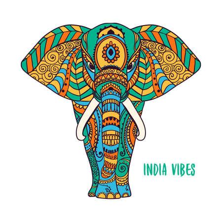 Illustration pour Boho elephant. Vector illustration. Floral design, hand drawn map with Elephant ornamental - image libre de droit
