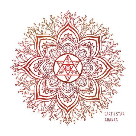 Illustration pour Chakras coloring vector illustration. Chakra symbol. Red Color. For logo yoga healing, meditation, kundalini. - image libre de droit