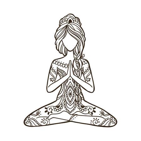 Illustration pour Yoga Girl. Stay home and do yoga concept.Ornamental Vector illustration. - image libre de droit