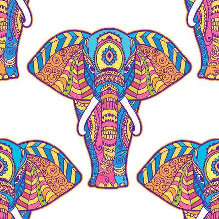 Illustration pour Boho elephant pattern. Vector illustration. Floral design, hand drawn map with Elephant ornamental - image libre de droit