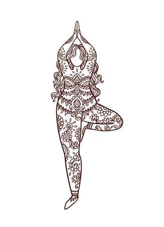 Illustration pour Yoga girl. Ornament Meditation pose. Concept of body positive. Vector illustration - image libre de droit