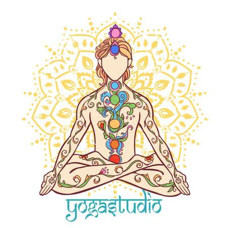 Illustration pour Yoga man. Ornament beautiful Concept of meditation. Geometric element hand drawn. Vector illustration - image libre de droit
