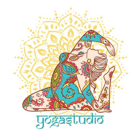 Illustration pour Yoga girl. Ornament Meditation pose. Concept of body positive. Vector illustration plus size - image libre de droit